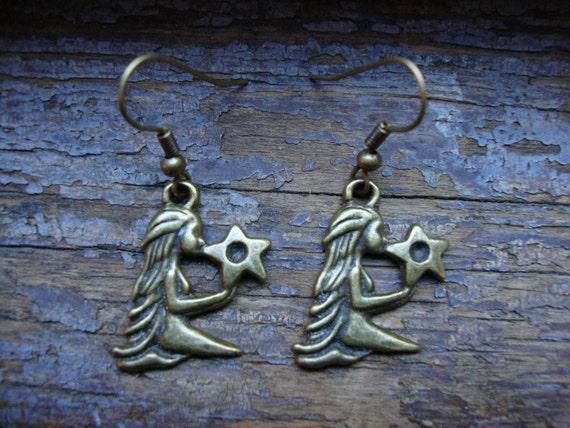 virgo earrings, zodiac, august to september, astrology, horoscope -- SALE