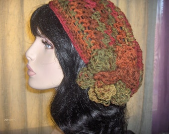 SALE Slouchy Hat Womens Tam Women Tam Hat Flower Crochet Dreads