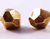 little faceted studs - antique gold