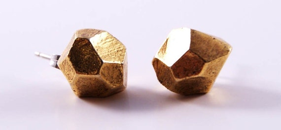 little faceted studs - antique gold