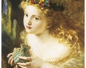 Silk Art Print EXQUISITE young ANGEL with butterflies in her hair - embellish it bead it embroider it collage it -  fiber arts