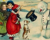 Silk Art Print - VICTORIAN CHRISTMAS - children Snowman puppy Seasons Greetings use in fiber arts, collage, arts