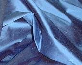 Fiber Arts - 100 o/o dupioni SILK FABRIC Azure Blue  Fabric Collage - Doll Clothes - Art to Wear