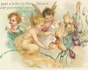 ART SILK panel - VALENTINE post a letter in the Flowers angels - Fiber Arts - Collage - Embellish It - Bead It - Embroider It