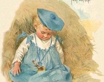 Fiber Arts - silk panel -  Vintage Nursery Rhyme Little Boy Blue