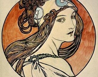 Fiber Arts - Crazy Quilt - Collage - Alphonse Mucha - Woman wearing head band blue cream rust