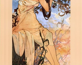 Art Print on SILK Alphonse MUCHA - Art Nouveau Lady of SUMMER - Fiber Arts Collage Embellish