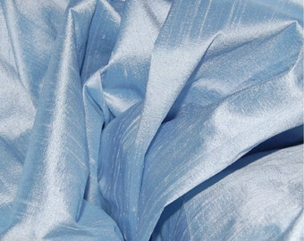 100% dupioni SILK Fabric FQ Iced Baby Blue - fiber arts crazy quilting doll clothes fabric collage wonderful texture and color