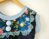 Price Reduced. Navy Spring Blouse with Floral Bib and Blue Lace in Small by Nicoles Threads - nicolecarey