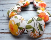 fabric button bracelet in happy floral vintage print. READY TO SHIP.
