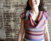 Womens Colorful Striped Cowl Dress in Medium. One of a kind // by Nicoles Threads