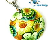Floral pendant - green yellow flowers