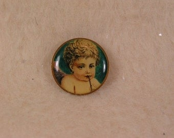 Vintage Victorian Angel Blowing Horn Tac Pin