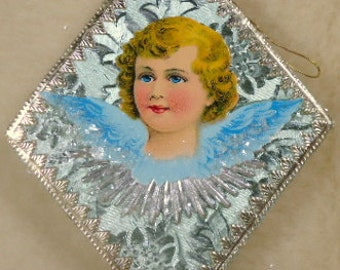 Antique Angel Scrap and Dresdens Diamond Ornament Embossed Sage Foil Paper Mache