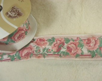 Vintage Victorian Pink Roses Wired Ribbon - Partial Bolt Mint Condition 1980's