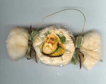 Vintage Style Spun Cotton Old Fashioned Candy Ornament with Dresdens and Antique Santa Scrap