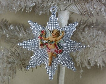 Vintage Silver Dresden Star Ornament with Antique Cherub Die Cut