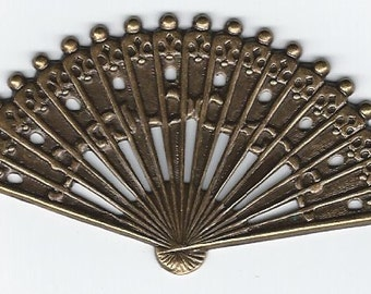 Antiqued Brass Victorian Fan Pieces Set of 3