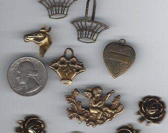 Set of 10 Antiqued Brass Finish Jewelry Findings