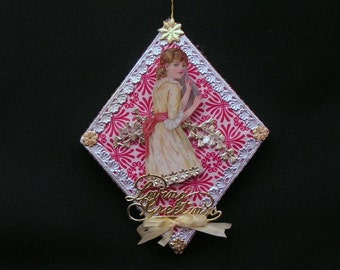 Vintage Style Die Cut/Dresden Loving Greetings Paper Mache Diamond Shape Red and White Ornament