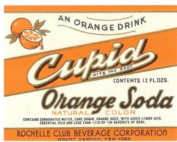 Vintage cupid orange soda drink label for Classic house labels