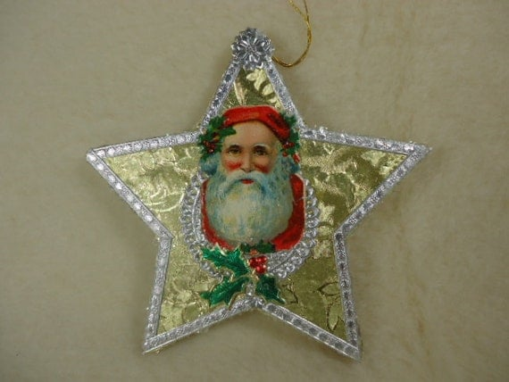 Embossed Foil Paper Mache Star With Antique Santa Scrap and Dresdens