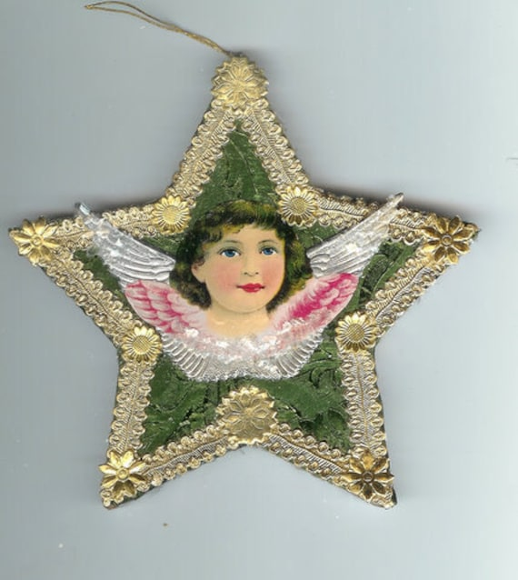 Antique Angel Scrap and Dresden Star Ornament on Embossed Victorian Green Foil Paper Mache