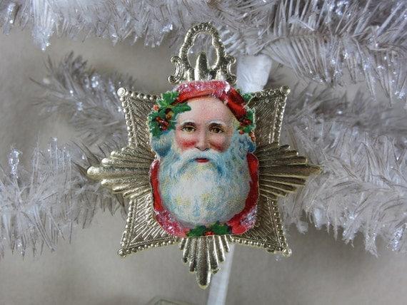 Beautiful Vintage Gold Medallion Dresden Ornament with Antique Santa Die Cut