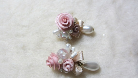 RESERVED FOR SONIA Beautiful Vintage Pink Roses and Pearl Drop Post Pierced Earrings with Ribbon 1980s