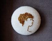 embroidery woman in profile jane austen era hand embroidered portrait button brunette