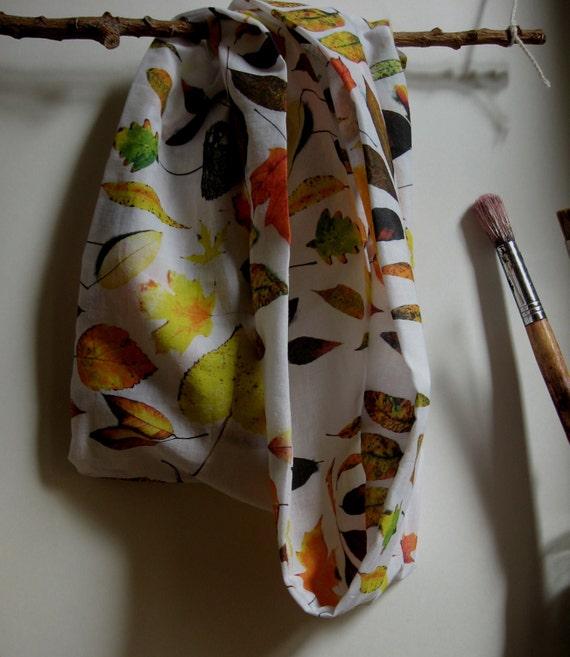 loop scarf autumn leaves cotton lawn original fabric design