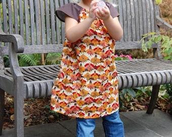 Thanksgiving Peasant Dress , Girls Dress, Handmade Dress, Thanksgiving outfit
