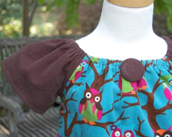 Girls  Toddlers  Kids  Childrens  Whoooo loves Owls Fall Corduroy Peasant Dress