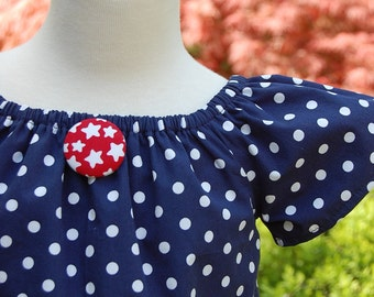 Dress for Baby /  Toddler / Girl  Handmade Red, White and Blue Peasant Dress / Tunic 4th of July