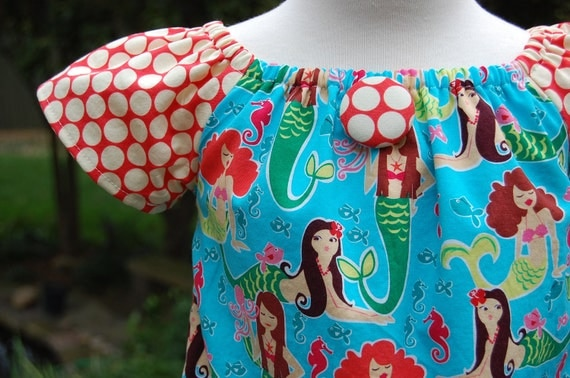 Lovely Peasant Dress in Michael Miller's Sea Beauties     Mermaids are great for summer fun