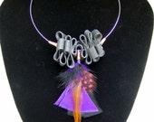 Tire and Feathers Purple Necklace
