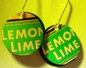 Lemon Lime Trashion Soda Pop Art Earrings