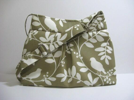 Large Pleated Hobo Handbag / Adjustable Strap / Birds on Branches