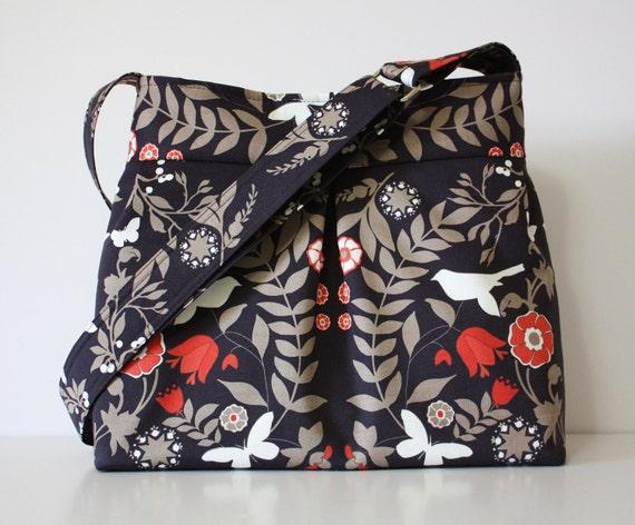 Bird Hobo Handbag / Adjustable Strap / Ty Pennington fabric