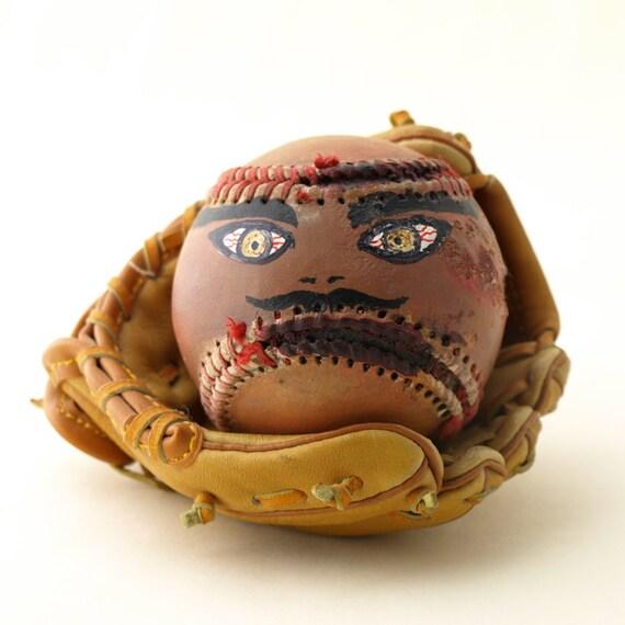 Hand Painted Baseball Funny Face  'Joe'  Free Shipping in USA