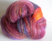 Spinning fiber batts 2ozs hand dyed polwarth silk hand dyed firestar angelina Sari single