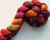 Hand Dyed roving Wild silk Tussah silk brick 4.2ozs