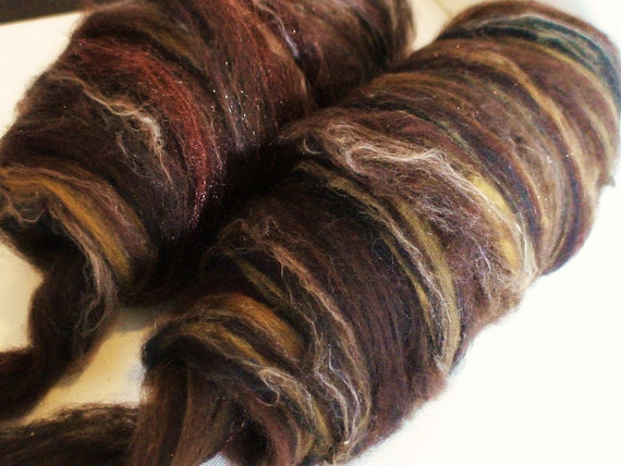 Wool roving for spinning Artemis Wild Roving 3.25ozs Chocolate caramel
