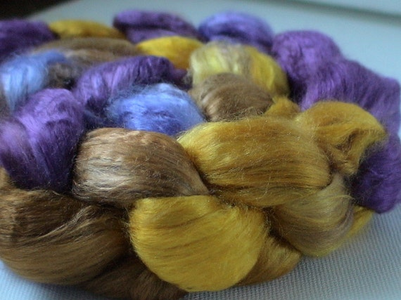 Hand Dyed Mulberry silk roving half brick 2.4ozs Oliviola