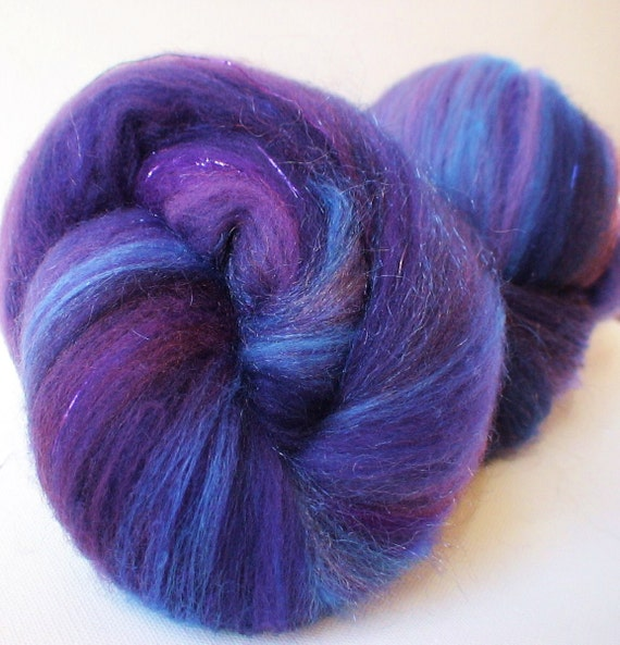 Spinning felting batts 3.15ozs  hand dyed polwarth silk merino sparkle  bamboo firestar Blueberry pie