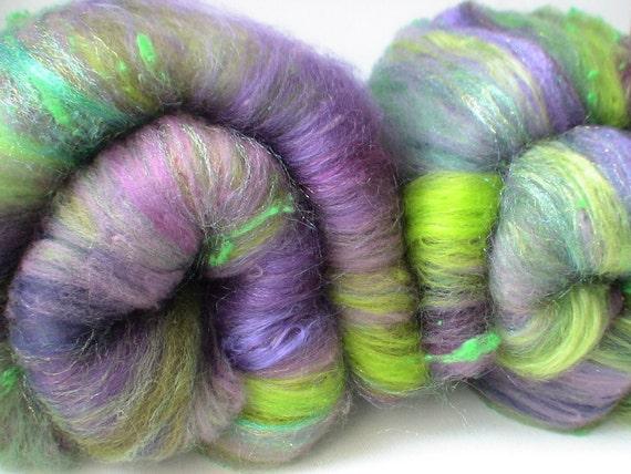 Spinning fiber Crazy Creative fiber batts 3.5ozs Lime and Violet