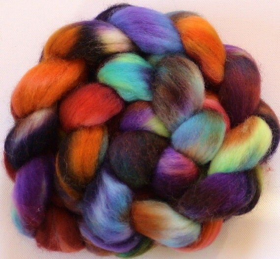 Corriedale Wool Roving for spinning  hand dyed  3.9ozs spinning fiber