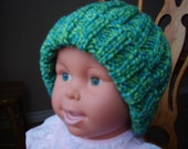 Great 5T-7 year old Tropic Twist Colour Knitted Chunky Hat/Beanie