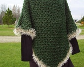 Crochet Soft and Cozy Textured Green Shades Poncho
