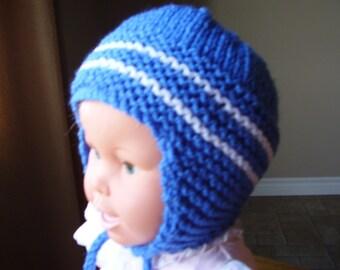 2T-4yr.old Med Blue White Stripes Knit Earflap hat